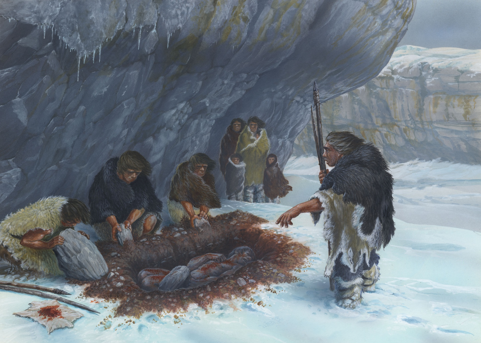 Illustration by Gilles Tosello, representing the burial of a Neanderthal man at the La Ferrassie site (1988)