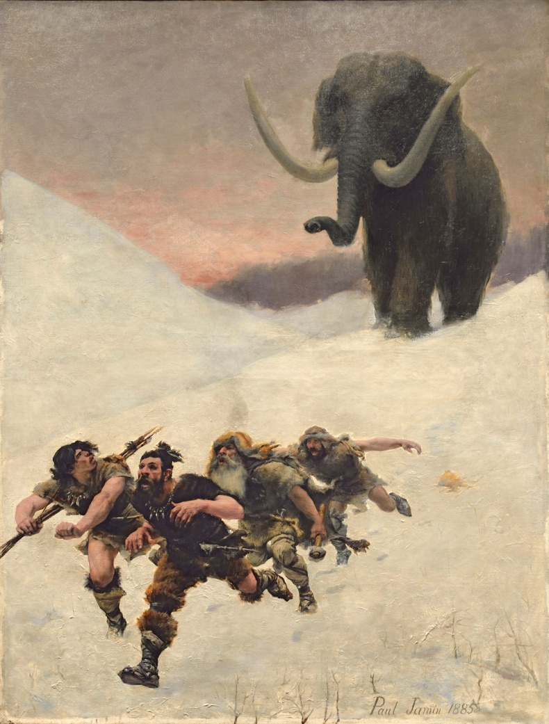 La fuite devant le mammouth / Escaping from the Mammoth, oil on canvas by Paul Jamin, 1885